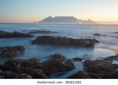 sunset table mountain view from table view of the city head south africa