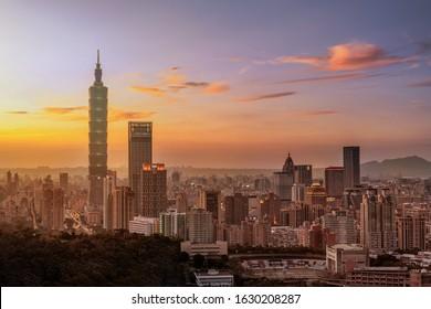 Sunset of Taipei city at dusk Taiwan