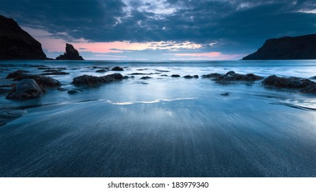 Sunset at Talisker bay on the Isle of Skye.