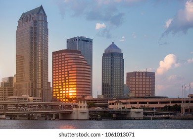 Sunset in Tampa, Florida, USA downtown city skyline.