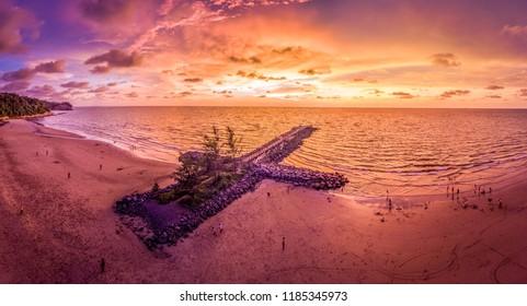 Sunset at Tanjong Lobang Beach, Miri, Sarawak.