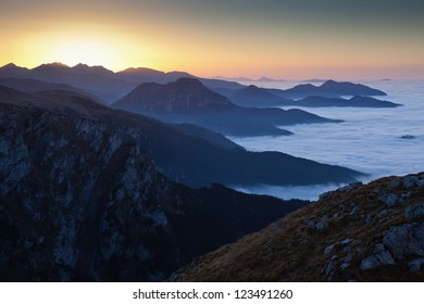 Sunset at Tatra Mountains, Poland. Autumn view from Giewont Peak.