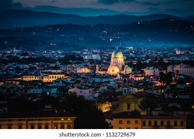 Sunset of the Tempio Maggiore Great Synagogue of Florence and Duomo, Italy