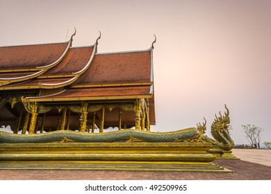 Sunset temple wat sirinthorn ubon ratchathani, measured Phuproud Thailand.