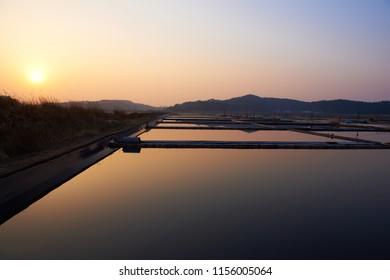 At sunset, this is Salt Field in Taean-gun, Korea.