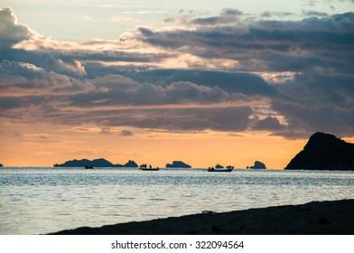 Sunset in Thong Sala, Koh Pha Ngan, Thailand.