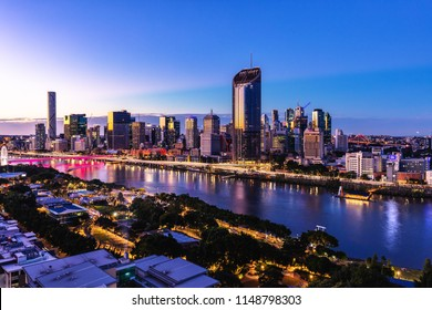 Sunset time areal image of Brisbane CBD and South Bank. Brisbane, Queensland, Australia.