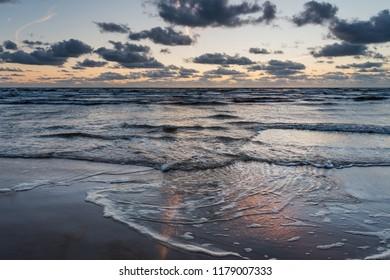 Sunset time by Baltic sea, Liepaja, Latvia.
