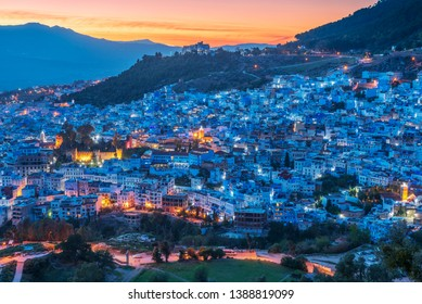 Sunset time of Chefchaouen, the Blue city of Morocco