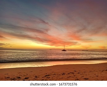sunset time with colorful sky at the beach of Thailand