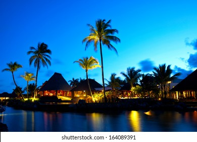 Sunset time in luxury resort in Mauritius Island