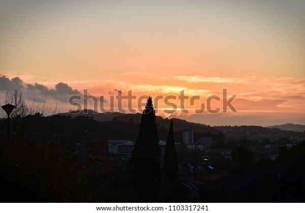 Sunset time in the mountain of Penha near from Guimarães.