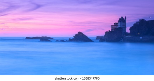 sunset time on a beach in biarritz basque country of france