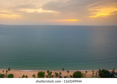 Sunset time in pattaya beach, chonburi, thailand