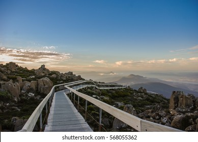 Sunset time at The Pinnacle Observation Shelter and Boardwalk on Mount Wellington, Hobart Tasmania, Australia.