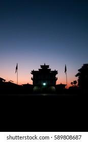 Sunset time tibetan bhutan temple  in bodhgaya