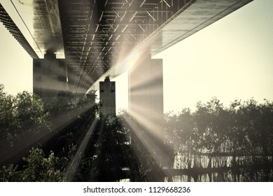 Sunset Time Under The Bridge Vintage Photo With Copyspace