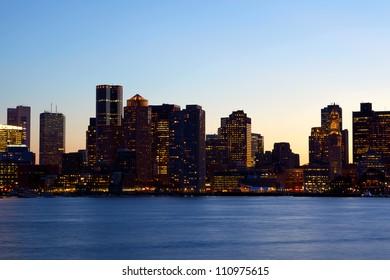 Sunset time view of Boston skyline over Charles River, Massachusetts, USA