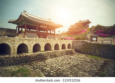 Sunset time view at Hwaseong fortress in suwon city south korea.
