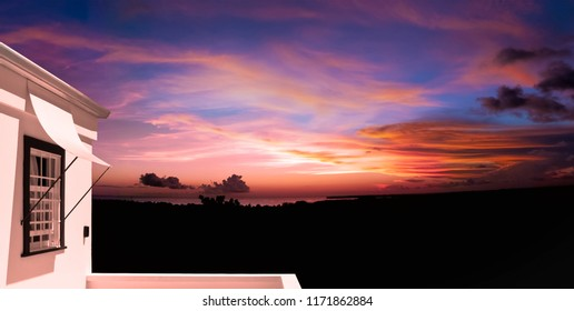Sunset in Tobago at twilight from a terraced balcony beautiful tropical dusk