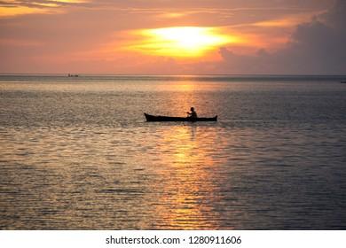 Sunset in Tomia, Wakatobi, Southeast Sulawesi on April 10, 2017