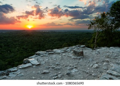 Sunset from the top of the Tohoch Mul pyramid in Coba, Mexico.