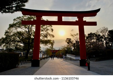 Sunset in the Torii Gate, Toriis Temple in Kyoto, Japan