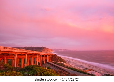 Sunset at the Torrey Pines State Beach and bridge