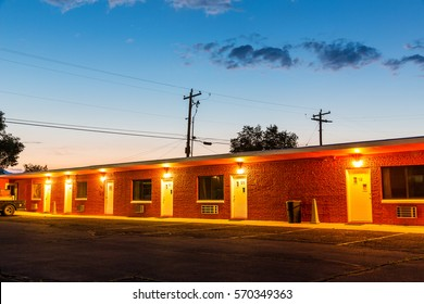 Sunset in touristic motel. USA car travel
