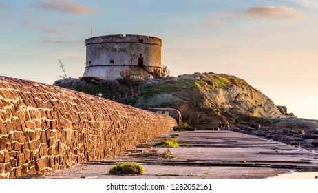 Sunset at the tower of Bosa Marina, Sardinia