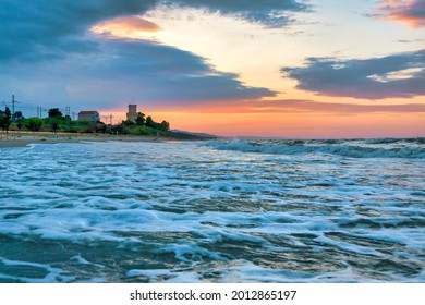 """Sunset in the """"Tower of Cerrano"""" Marine protected area, Pineto, Italy"""