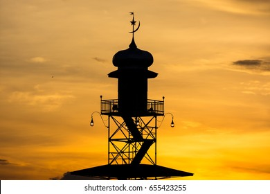 Sunset in the tower of the grand mosque of Demak, Indonesia