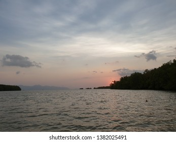 Sunset at Trat River by silhouette shot, Trat Province Thailand.