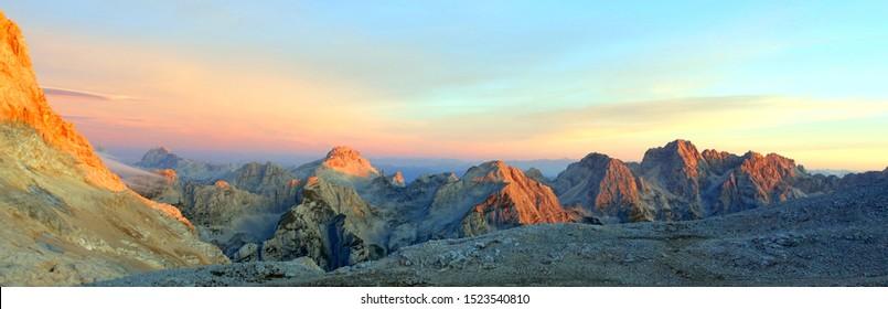 Sunset from Triglavski dom - mountain cottage - Triglav National park - Slovenia