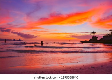 sunset tropic island of Boracay in the sea of the Philippines...