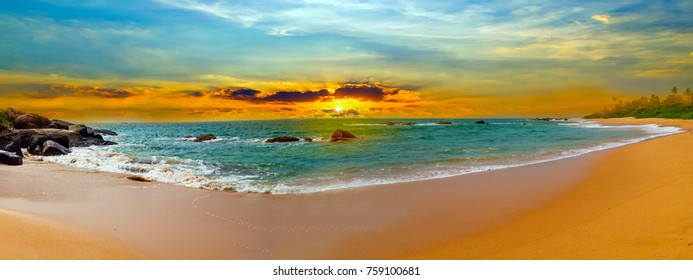 Sunset tropical over sea Time to rest, panorama landscape