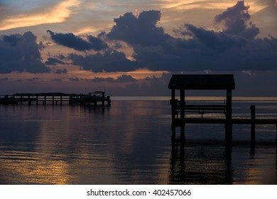 Sunset at tropical waterfront location of Florida Keys, Caribbean