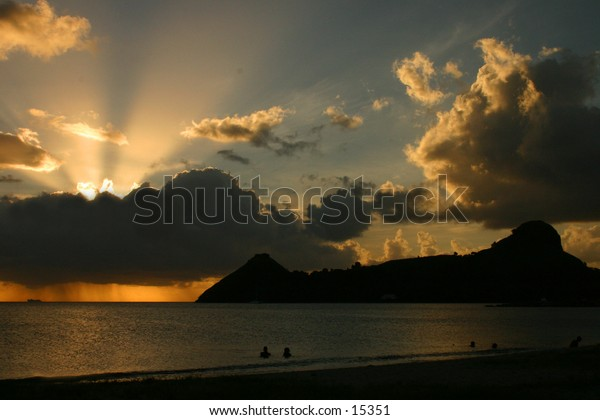 Sunset in the tropics. St. Lucia, Caribbean