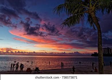 Sunset at Tumon beach, Guam island