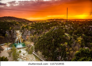 Sunset at Turner Falls in Oklahoma's Arbuckle Mountains