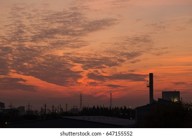 sunset and Twilight sky view Industrial Thailand