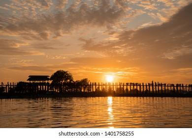 sunset, Ubeng Bridge, Mandalay, Myanmar