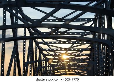 Sunset under bridge