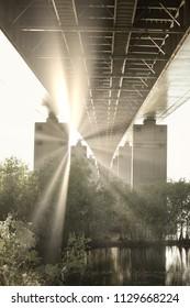 Sunset Under The Bridge Vintage Photo Shot
