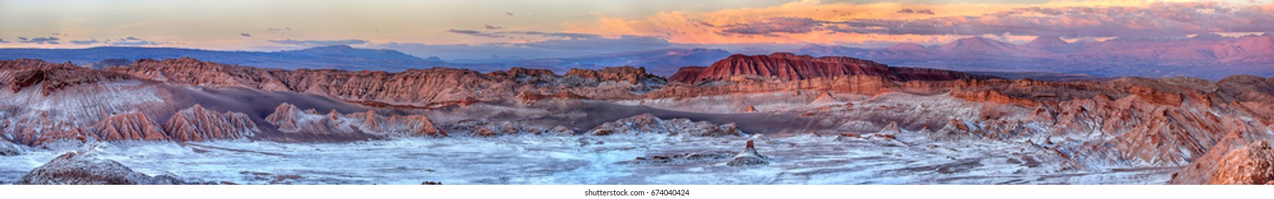 Sunset at Valle de Luna - Atacama desert near San Pedro (chile)