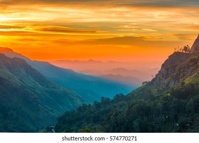 Sunset in the valley near the town of Ella, Sri Lanka