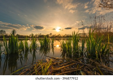 Sunset at Mühlensee in Vehlefanz, Germany