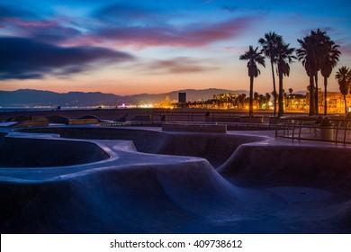 Sunset at Venice Beach Skate Park in Los Angeles.