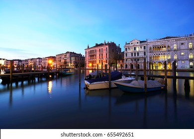 Sunset in venice canal