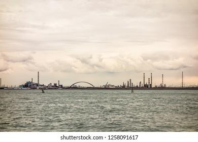 sunset in Venice Porto Marghera industrial area